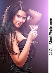 kobieta, z, cocktail