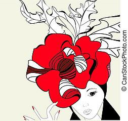 kobieta, z, czerwony kapelusz