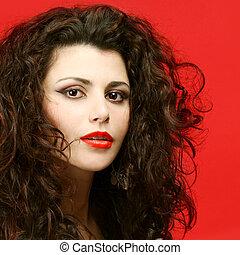 kobieta, z, długi, kędzierzawy włos, -, salon piękna, wzór