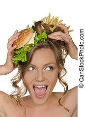 kobieta, z, hamburger, i, smaży, krzyki