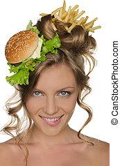 kobieta, z, hamburger, i, smaży, uśmiechanie się