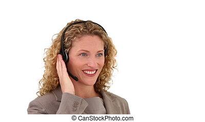 kobieta, z, kędzierzawy, blond włos, posiadanie, niejaki,...