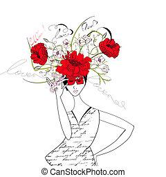 kobieta, z, kwiaty