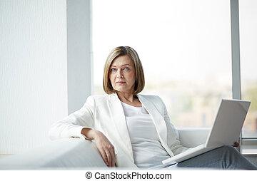 kobieta, z, laptop