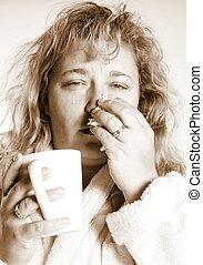 kobieta, z, niejaki, przeziębienie