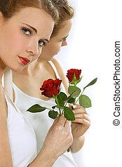 kobieta, z, niejaki, róża, w, ręka