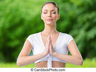 kobieta, z, przypatruje się zamknięty, modlitwa, gesturing