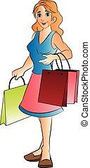 kobieta, z, shopping torby, ilustracja
