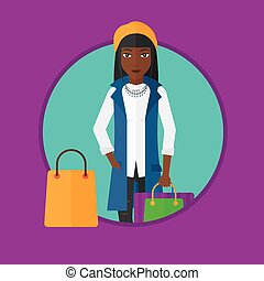 kobieta, z, shopping torby, wektor, illustration.