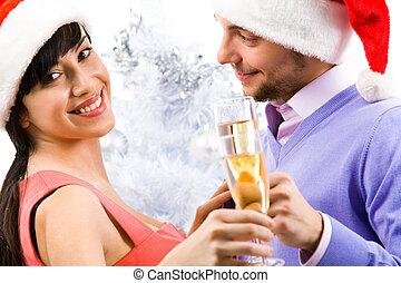 kobieta, z, szampan