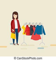 kobieta, z, torba na zakupy