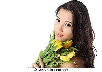 kobieta, z, tulipan, kwiaty