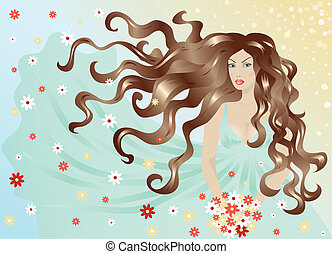 kobieta, z, włosy, i, strój, przelotny, w wietrze