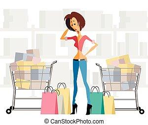 kobieta, z, zakupy, wykres