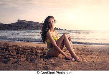 kobieta, zachód słońca