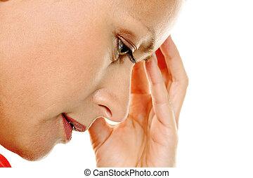 kobieta, zadumany, ból głowy