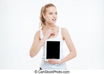 kobieta, zadumany, tabliczka, pokaz, komputer, okienko osłaniają