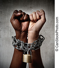 kobieta, zamknięty, łańcuch, razem, ręka, multiracial, prąd, czarnoskóry, biały, umowa, ethnicity