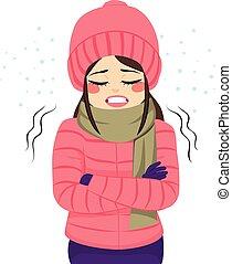 kobieta, zamrażanie, zima ubranie