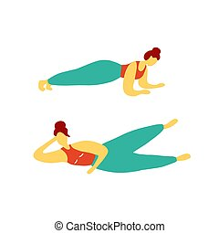 kobieta, zaręczony, doodle, trening, wektor, concept., graficzny, dziewczyna, płaski, pilates., plank., training.