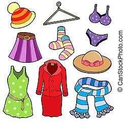 kobieta, zbiór, odzież
