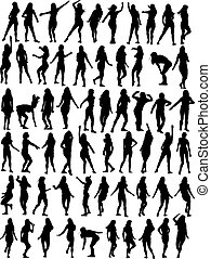 kobieta, zbiór, taniec