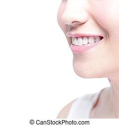 kobieta, zdrowie, młody, zęby