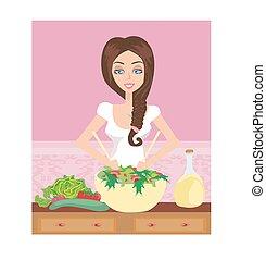kobieta, zdrowy, gotowanie, z, salaterka, w kuchni