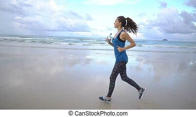 kobieta, zdrowy, jogging, młody, wyścigi, czynny, brzeg, samica, sunrise., wzdłuż, kreska