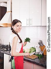 kobieta, zdrowy, kitchen., jadło, zrobienie, uśmiechanie się
