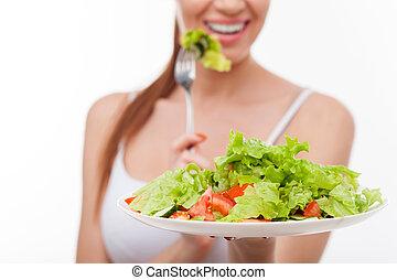 kobieta, zdrowy, młody, jadło, ładny, cieszący się