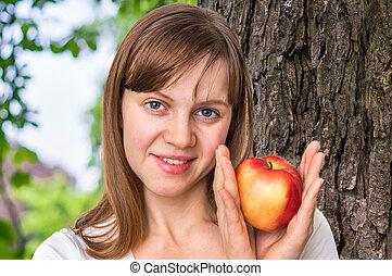 kobieta, zdrowy, pojęcie, -, jabłko, dieta, świeży