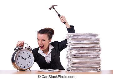kobieta, zegar, utrafiając, rozpaczliwy, czas, młot