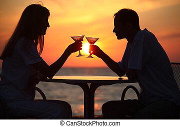 kobieta, zewnątrz, zachód słońca, ciupa, człowiek, okulary