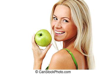 kobieta, zielony, jeść, jabłko