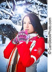 kobieta, zima, śnieg, cele, natura, portret