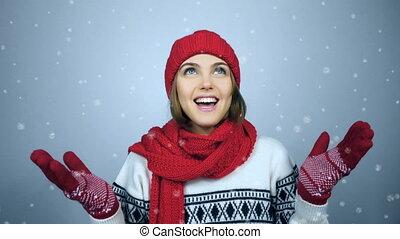 kobieta, zima, dłonie, przestrzeń, do góry, uchwyt,...