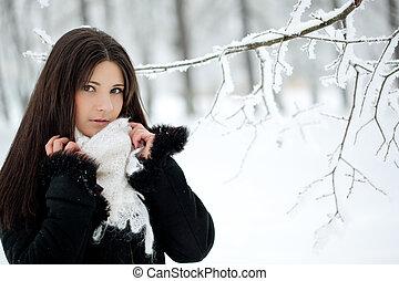 kobieta, zima, piękno