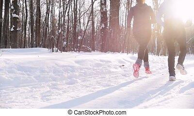 kobieta, zima, woods., młody, rano, forest., ślad bieg, człowiek