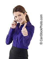 kobieta, znak, handlowy, ok, wskazywanie