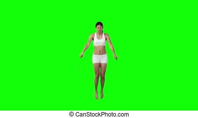 kobieta, związać, skaczący, wykonując