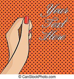 kobietki, ilustracja, ręka