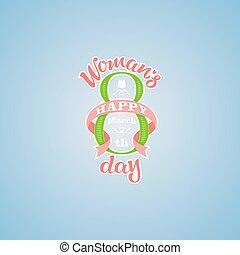 kobietki, powitanie, ręka, pociągnięty, lettering., dzień, karta, szczęśliwy
