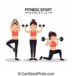 kobiety, atletyka, sport, projektować, stosowność