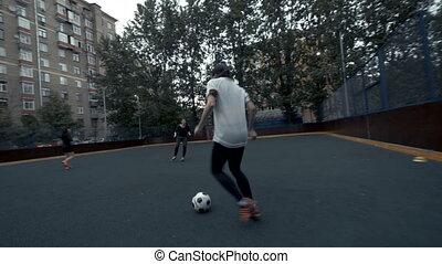 kobiety, gra, football., samica, drużyna piłki nożnej, w, training., kobieta, futbolowy zaprzęg