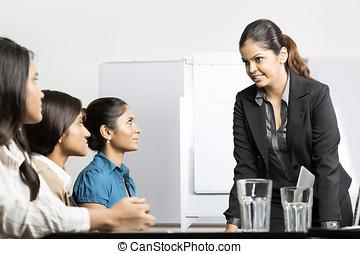 kobiety, grupa, posiadanie, handlowy, meeting.
