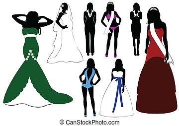 kobiety, ilustracja, sylwetka