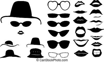kobiety, kapelusze, komplet, twarze
