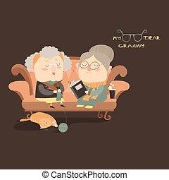 kobiety, leżanka, starszy, posiedzenie