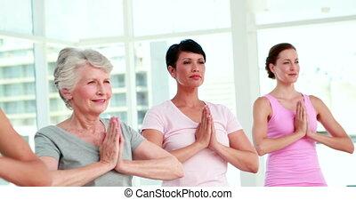 kobiety, na, niejaki, yoga klasa, w, poza drzewa